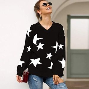 INIONIA Star Print V-Neck Sweater